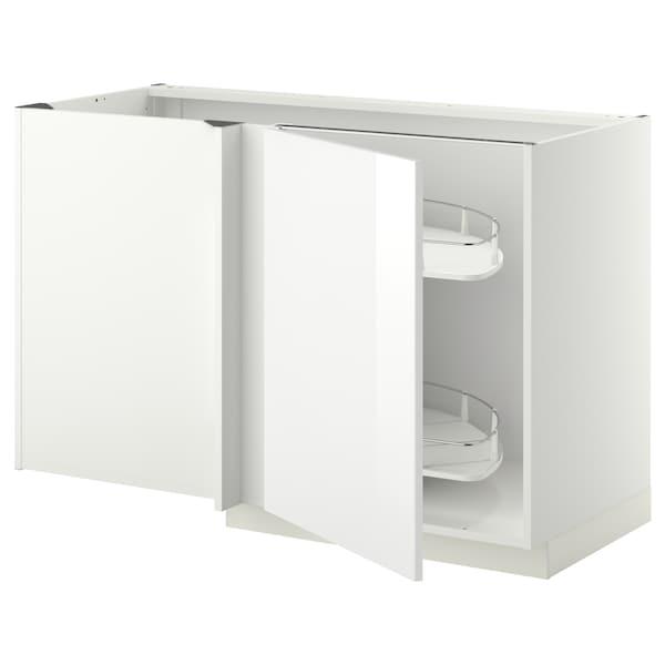 METOD خزانة قاعدة ركنية مع سحب للخارج, أبيض/Ringhult أبيض, 128x68 سم