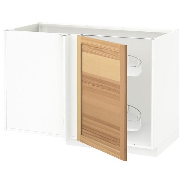 METOD خزانة قاعدة ركنية مع سحب للخارج, أبيض/Torhamn رماد, 128x68 سم