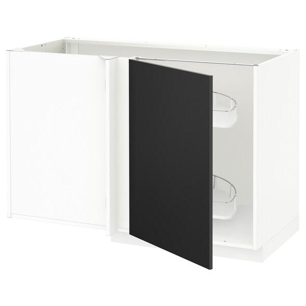 METOD خزانة قاعدة ركنية مع سحب للخارج, أبيض/Uddevalla فحمي, 128x68 سم