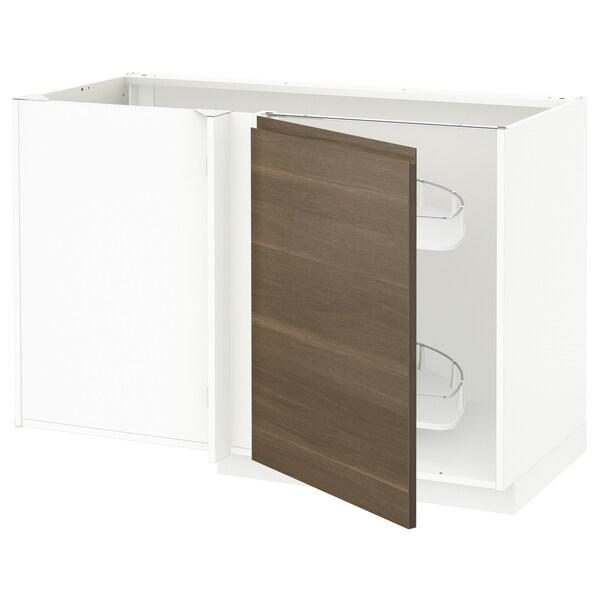 METOD خزانة قاعدة ركنية مع سحب للخارج, أبيض/Voxtorp شكل خشب الجوز, 128x68 سم