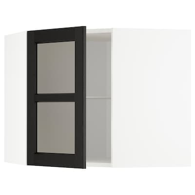 METOD Corner wall cab w shelves/glass dr, white/Lerhyttan black stained, 68x60 cm