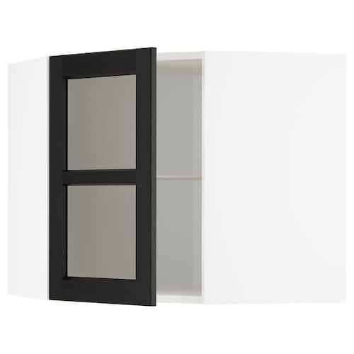 METOD corner wall cab w shelves/glass dr white/Lerhyttan black stained 67.5 cm 67.5 cm 60.0 cm