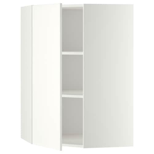 METOD corner wall cabinet with shelves white/Häggeby white 67.5 cm 67.5 cm 100.0 cm