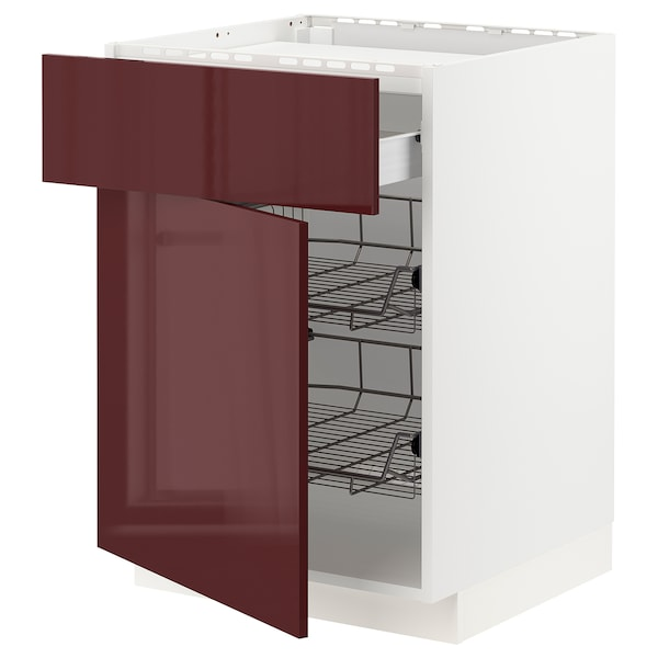 METOD / FÖRVARA Base cab f hob/drawer/2 wire bskts, white Kallarp/high-gloss dark red-brown, 60x60 cm
