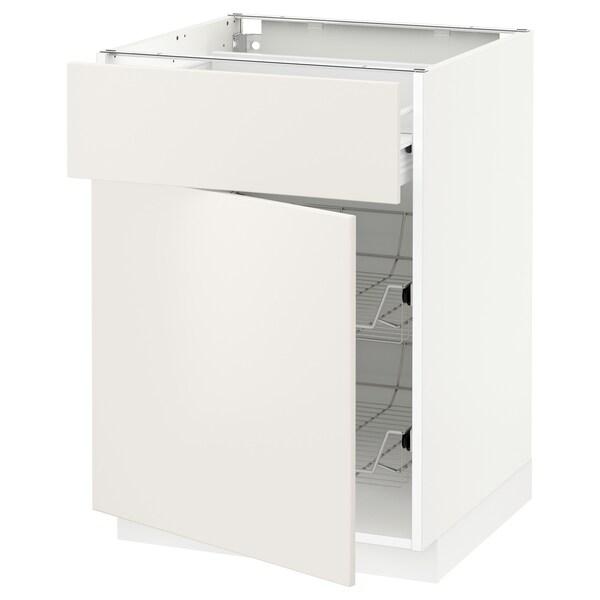 METOD / FÖRVARA Base cab w wire basket/drawer/door, white/Veddinge white, 60x60 cm