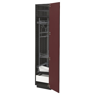 METOD / FÖRVARA High cabinet with cleaning interior, black Kallarp/high-gloss dark red-brown, 40x60x200 cm
