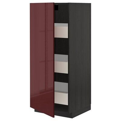 METOD / FÖRVARA High cabinet with drawers, black Kallarp/high-gloss dark red-brown, 60x60x140 cm