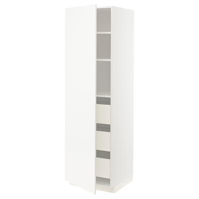 METOD / FÖRVARA High cabinet with drawers, white/Veddinge white, 60x60x200 cm