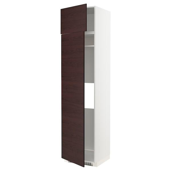 METOD Hi cab f fridge or freezer w 2 drs, white Askersund/dark brown ash effect, 60x60x240 cm