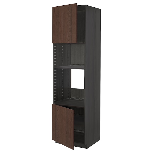METOD Hi cb f oven/micro w 2 drs/shelves, black/Sinarp brown, 60x60x220 cm