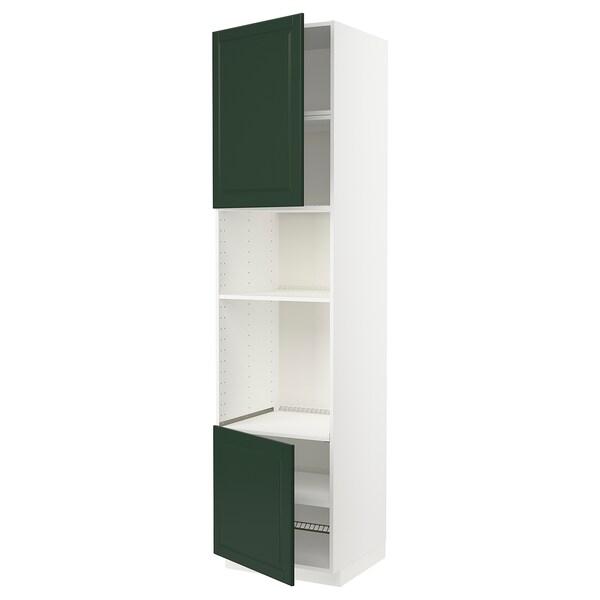 METOD خزانة عالية لفرن/ميكرويف بابين/أرفف, أبيض/Bodbyn أخضر غامق, 60x60x240 سم