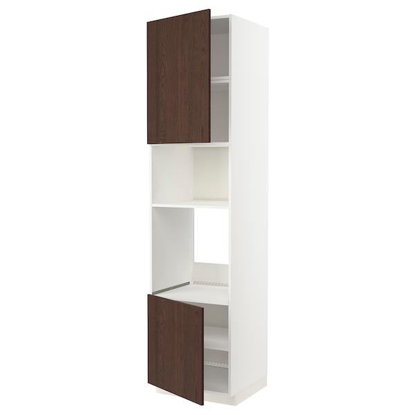 METOD خزانة عالية لفرن/ميكرويف بابين/أرفف, أبيض/Sinarp بني, 60x60x240 سم
