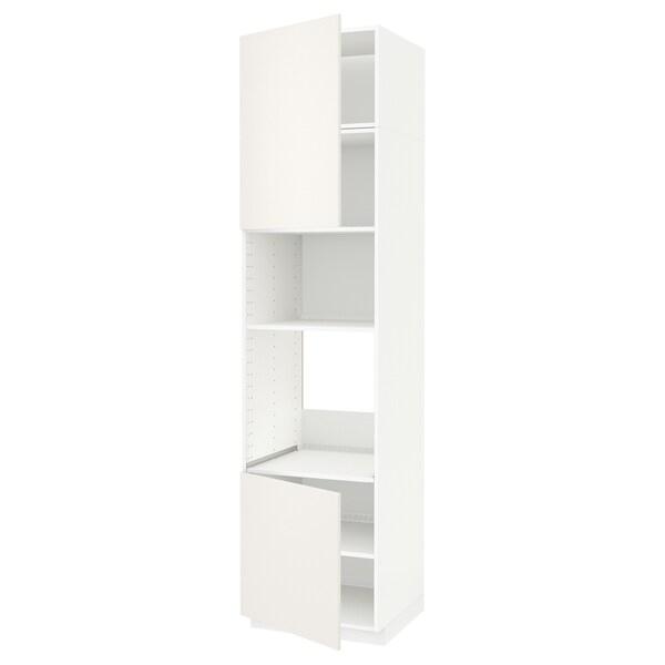 METOD Hi cb f oven/micro w 2 drs/shelves, white/Veddinge white, 60x60x240 cm