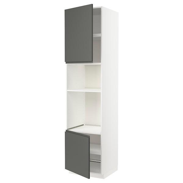 METOD خزانة عالية لفرن/ميكرويف بابين/أرفف, أبيض/Voxtorp رمادي غامق, 60x60x240 سم