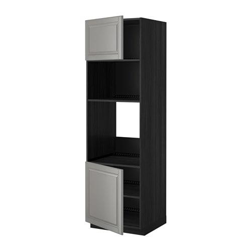 METOD armoire four micro  portes tabl noir Bodbyn gris wb