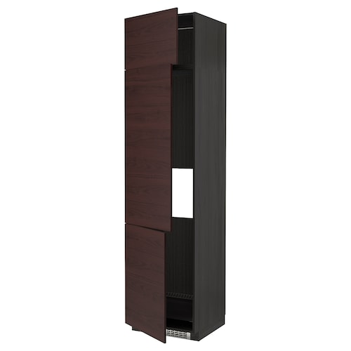 METOD high cab f fridge/freezer w 3 doors black Askersund/dark brown ash effect 60.0 cm 61.6 cm 248.0 cm 60.0 cm 240.0 cm