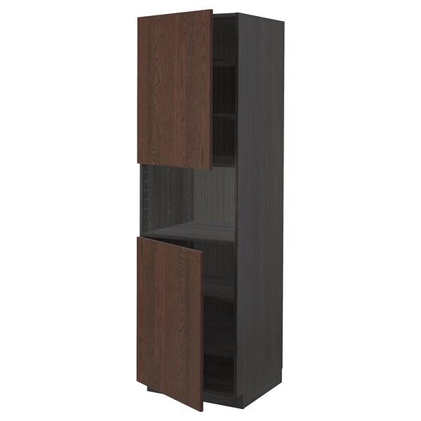 METOD High cab f micro w 2 doors/shelves, black/Sinarp brown, 60x60x200 cm