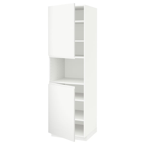 METOD high cab f micro w 2 doors/shelves white/Voxtorp matt white 60.0 cm 62.1 cm 208.0 cm 60.0 cm 200.0 cm