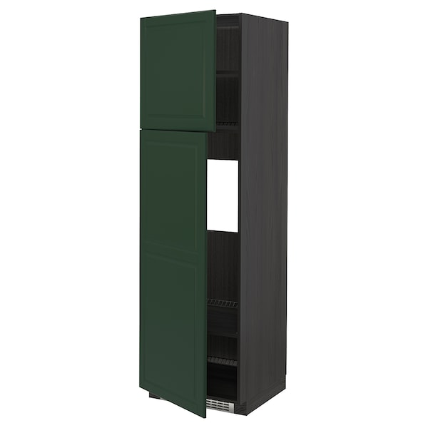 METOD High cabinet for fridge w 2 doors, black/Bodbyn dark green, 60x60x200 cm