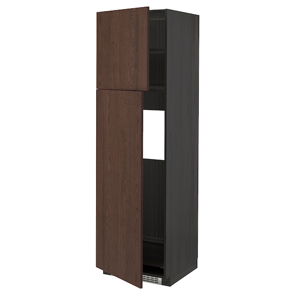 METOD High cabinet for fridge w 2 doors, black/Sinarp brown, 60x60x200 cm