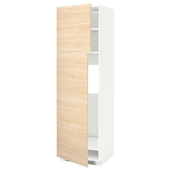 METOD High cabinet for fridge w 2 doors, white/Askersund light ash effect, 60x60x200 cm