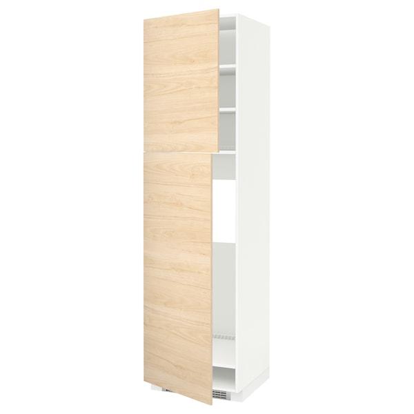 METOD High cabinet for fridge w 2 doors, white/Askersund light ash effect, 60x60x220 cm