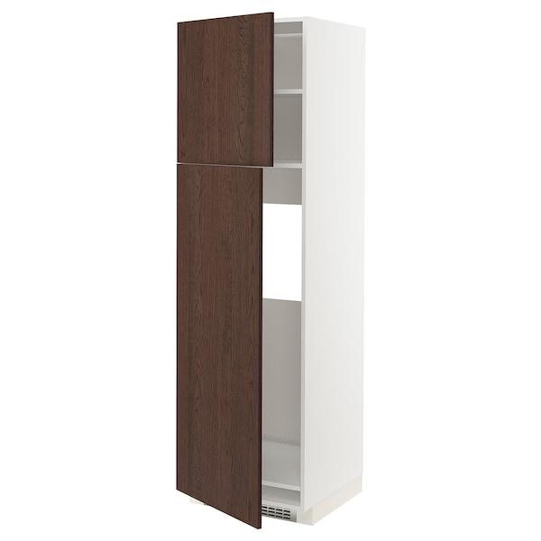 METOD High cabinet for fridge w 2 doors, white/Sinarp brown, 60x60x200 cm