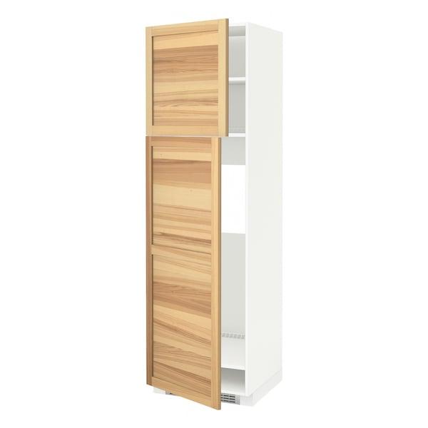 METOD High cabinet for fridge w 2 doors, white/Torhamn ash, 60x60x200 cm
