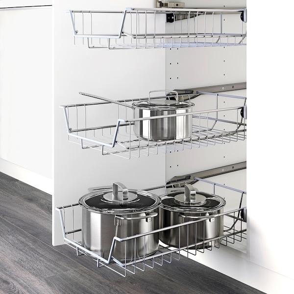 METOD High cabinet w shelves/wire basket, black Kallarp/high-gloss dark red-brown, 40x60x200 cm