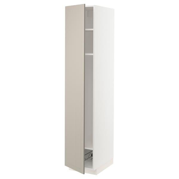 METOD High cabinet w shelves/wire basket, white/Stensund beige, 40x60x200 cm