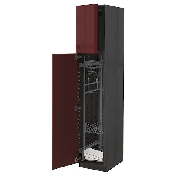 METOD خزانة مرتفعة مع أرفف مواد نظافة, أسود Kallarp/لامع أحمر-بني غامق, 40x60x200 سم