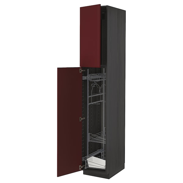 METOD خزانة مرتفعة مع أرفف مواد نظافة, أسود Kallarp/لامع أحمر-بني غامق, 40x60x220 سم