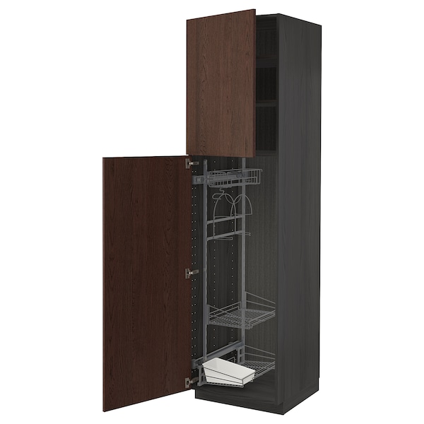 METOD خزانة مرتفعة مع أرفف مواد نظافة, أسود/Sinarp بني, 60x60x220 سم