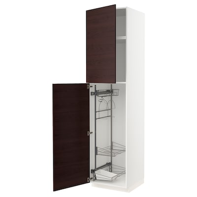 METOD High cabinet with cleaning interior, white Askersund/dark brown ash effect, 60x60x240 cm
