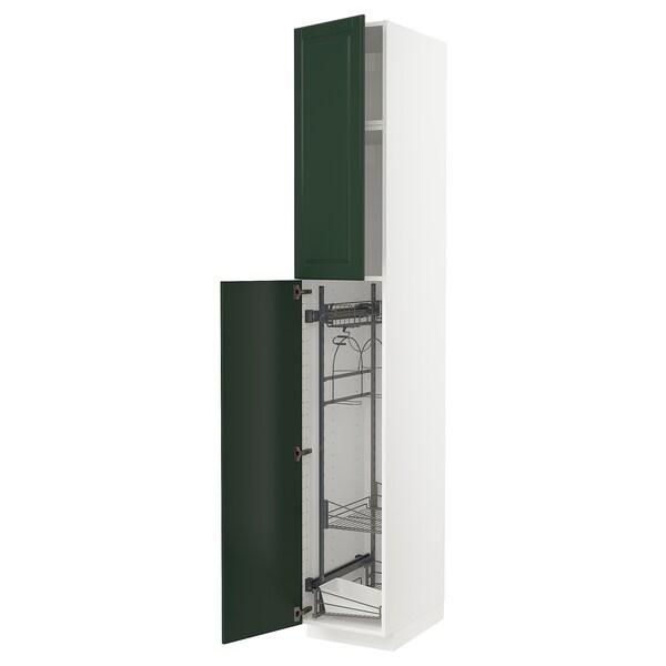 METOD خزانة مرتفعة مع أرفف مواد نظافة, أبيض/Bodbyn أخضر غامق, 40x60x240 سم