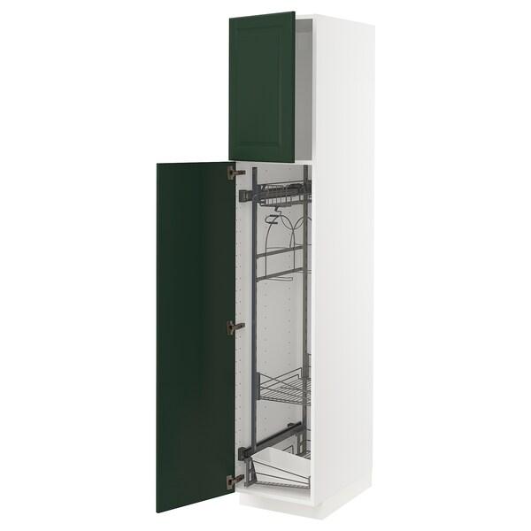METOD خزانة مرتفعة مع أرفف مواد نظافة, أبيض/Bodbyn أخضر غامق, 40x60x200 سم