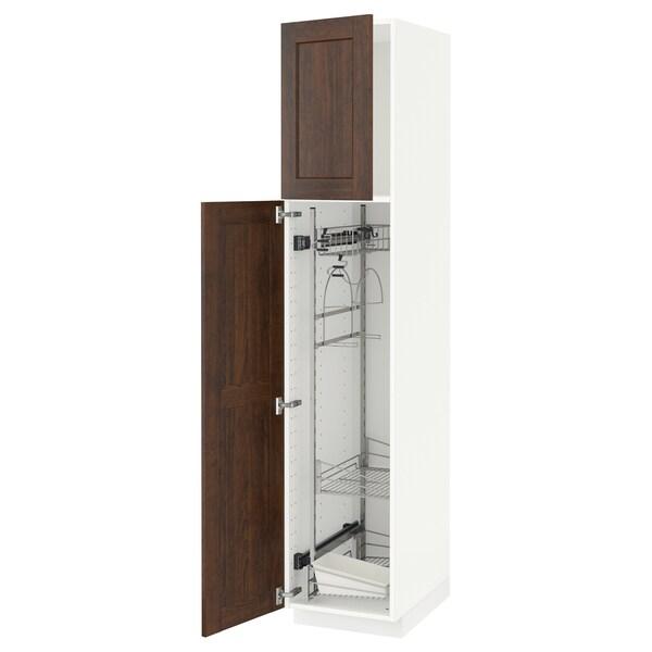 METOD خزانة مرتفعة مع أرفف مواد نظافة, أبيض/Edserum بني, 40x60x200 سم