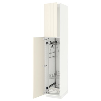 METOD خزانة مرتفعة مع أرفف مواد نظافة, أبيض/Hittarp أبيض-مطفي, 40x60x220 سم