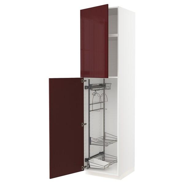 METOD خزانة مرتفعة مع أرفف مواد نظافة, أبيض Kallarp/لامع أحمر-بني غامق, 60x60x240 سم