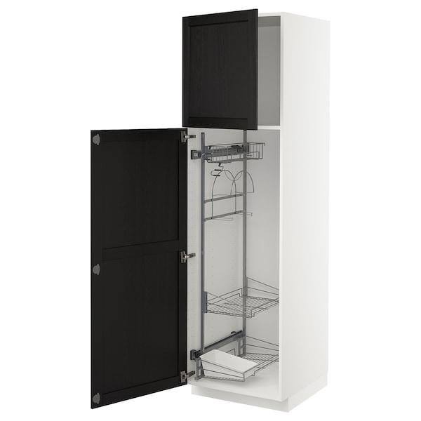 METOD خزانة مرتفعة مع أرفف مواد نظافة, أبيض/Lerhyttan صباغ أسود, 60x60x200 سم