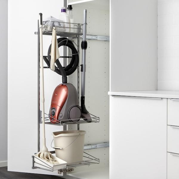 METOD خزانة مرتفعة مع أرفف مواد نظافة, أبيض/Lerhyttan صباغ أسود, 40x60x220 سم