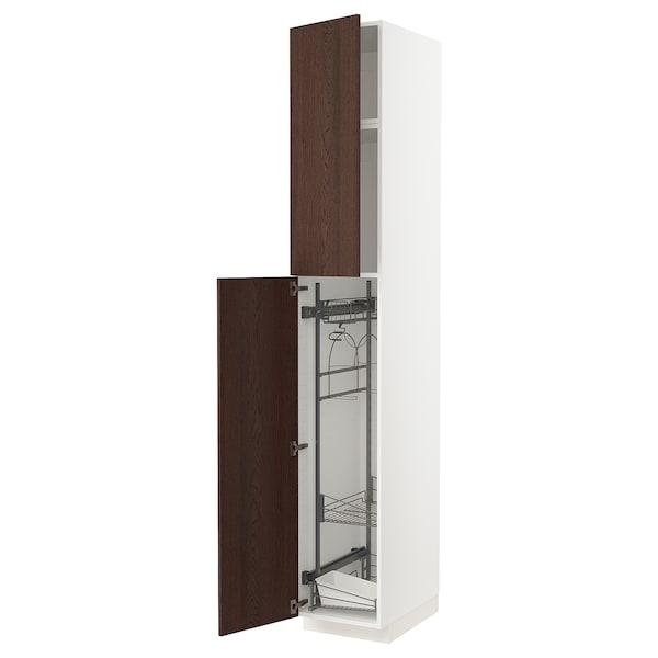 METOD خزانة مرتفعة مع أرفف مواد نظافة, أبيض/Sinarp بني, 40x60x240 سم