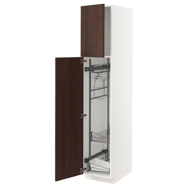 METOD خزانة مرتفعة مع أرفف مواد نظافة, أبيض/Sinarp بني, 40x60x200 سم