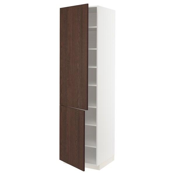 METOD خزانة مرتفعة مع أرفف/بابين, أبيض/Sinarp بني, 60x60x220 سم