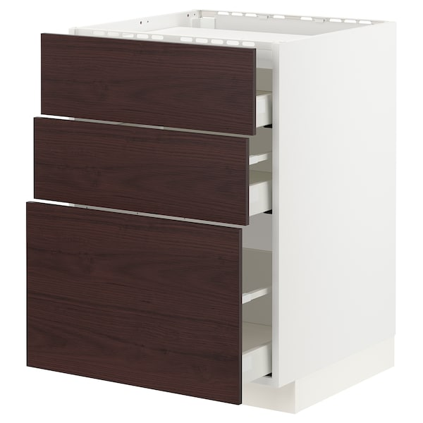 METOD / MAXIMERA Base cab f hob/3 fronts/3 drawers, white Askersund/dark brown ash effect, 60x60 cm