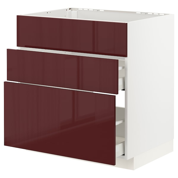 METOD / MAXIMERA Base cab f hob/int extractor w drw, white Kallarp/high-gloss dark red-brown, 80x60 cm