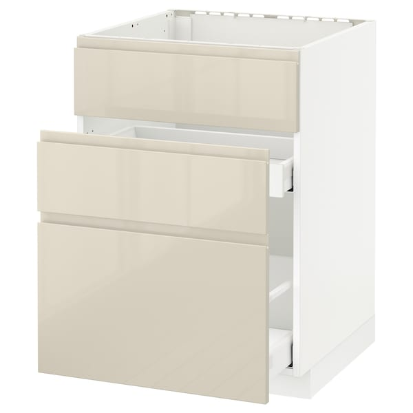 METOD / MAXIMERA Base cab f sink+3 fronts/2 drawers, white/Voxtorp high-gloss light beige, 60x60 cm