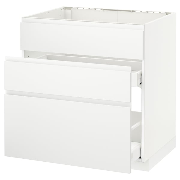 METOD / MAXIMERA Base cab f sink+3 fronts/2 drawers, white/Voxtorp matt white, 80x60 cm