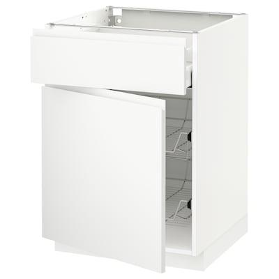 METOD / MAXIMERA Base cab w wire basket/drawer/door, white/Voxtorp matt white, 60x60 cm