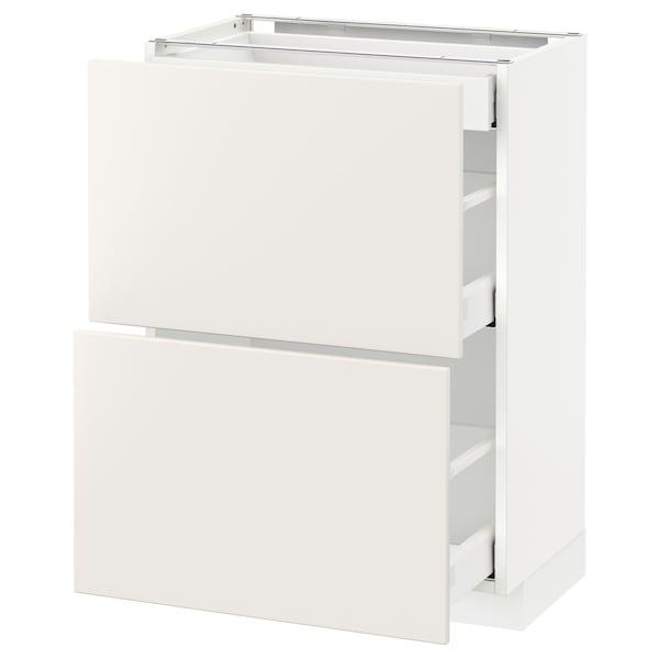 METOD / MAXIMERA Base cab with 2 fronts/3 drawers, white/Veddinge white, 60x37 cm